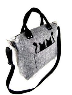 El yapımı kedi desenli keçe çanta gri - Çanta Modelleri