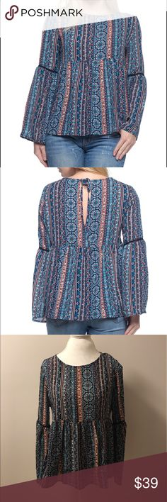 """Bell Sleeve Printed Top Adorable printed bell sleeve top - completely on trend. Drawstring back closure creates a keyhole design. 100% polyester. This is more sheer and may require shapewear. Small Approx. 24.5"""" long, 18"""" across bust. Sleeve approx. 16.25"""" long. Medium Approx. 25.5"""" long, 19"""" across bust. Sleeve approx. 16.5"""" long. Large Approx. 26"""" long, 20.5"""" across bust. Sleeve approx. 17.5"""" long Tops Blouses"""