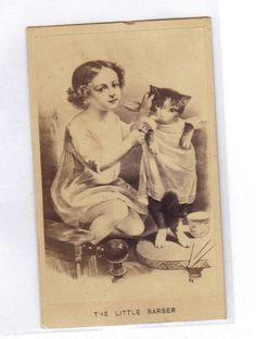 the little barber little girl giving cat a haircut 1860s CDV Photo #12   eBay