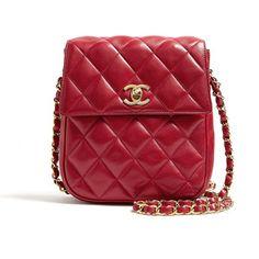 Chanel Vintage Red Leather Quilted Chanel Shoulder Bag