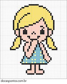 Grande menina, pequena mulher Cross Stitch For Kids, Cute Cross Stitch, Cross Stitch Patterns, Broderie Simple, Pix Art, Pixel Pattern, Fuse Beads, Perler Beads, Perler Patterns