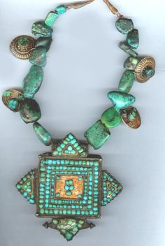 Tibetan gau with gold and antique turquoise