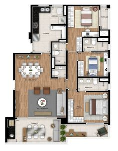 Sims House Plans, Dream House Plans, Modern House Plans, Small House Plans, House Floor Plans, My Dream Home, Three Bedroom House Plan, House Map, 3d Home