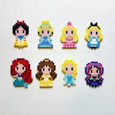 Disney Chibi/Kawaii Princess Magnets Choose from Elsa Anna Easy Perler Bead Patterns, Melty Bead Patterns, Perler Bead Templates, Diy Perler Beads, Perler Bead Art, Pixel Beads, Fuse Beads, Pixel Art, Hama Beads Disney