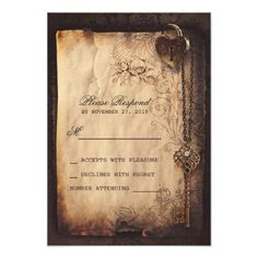 Heart lock & key vintage wedding RSVP cards Personalized Announcement