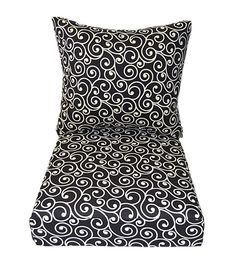 Merveilleux In / Outdoor Black Ivory Ornament Scroll Deep Seating Cushion 2 Pc Set For  Chair