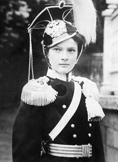 Tea Time at Winter Palace-Grand Duchess Tatiana Nikolaevna of Russia wearing the uniform of her regiment, the 8th Voznesensky Uhlans – of which she was Colonel-in-Chief, in 1912