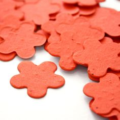 350 Tangerine Orange Petal Shaped Seed Paper Confetti -- Plantable Wedding Favor