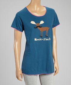 Blue 'Moose-Stache' Pajama Top - Women by Lazy One #zulilyfinds