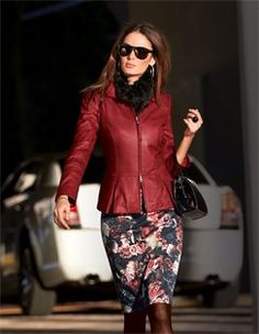 Leather jacket lamb nappa, Dress in Rose Imprimé