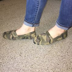 Army printed slip ons Army printed; great condition; look-A-likes to Toms; barely worn Shoes Flats & Loafers