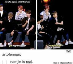 How you know they truly love each other. Namjin <3