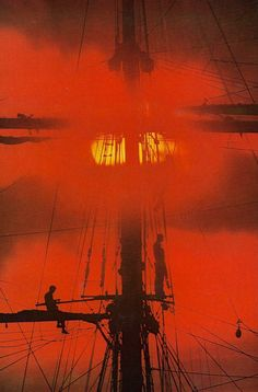 Sunrise behind an Argentine training ship  National Geographic | June 1976