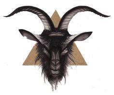 Goat!  Ink wash + gold leaf  Mister Beaudry