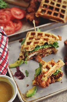 chicken and waffle sammy....YUMMY!