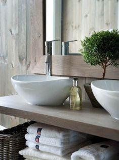 Basement bathroom idea - I like the sink style and wood colour