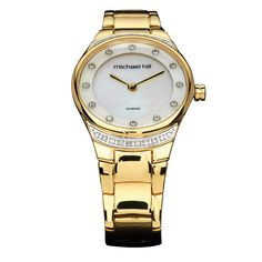Surprise her with this exclusive gold tone watch featuring carat total weight of diamonds. With a simple, multi-layered mother of pearl dial and Swiss movement, you will be giving a gift that lasts a lifetime. 21st Gifts, Xmas Gifts, Luxury Watches For Men, Love Gifts, Gold Watch, Bracelet Watch, Stainless Steel, Diamonds, Pearls