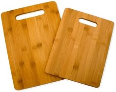 Don't be caught again without an extra cutting board. The Totally Bamboo bamboo cutting board set includes two cutting boards. Boards measure by
