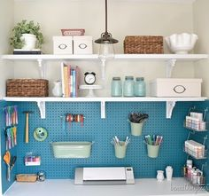 Craft room storage in a closet. So beautifully organized! Get things up off the desk. Would be great for the kids craft things