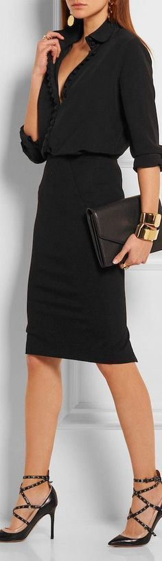 trendy black outfit : blouse + skirt + bag + heels