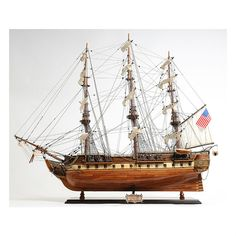 Old Modern Handicrafts USS Constitution Exclusive Edition Model Ship (USS Constitution Exclusive Edition), Brown