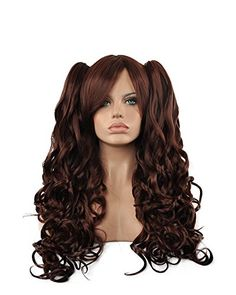 Diy-Wig New Natural Brown Long Curly Two Clips Ponytails…