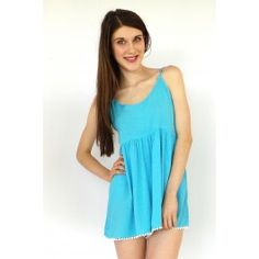 Playsuit Easy As in Turquoise with Bobble Lace Trim $45.99