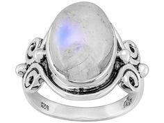 Artisan Gem Collection Of India, Oval Cabochon Rainbow Moonstone Sterling Silver Solitaire Ring
