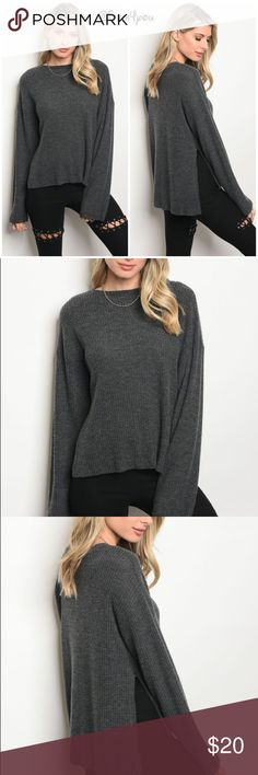 """🆕Charcoal top with slit on sides Long sleeve light weight knot top that features a free neckline and side slit  Fabric- 49% polyester 49% rayon 2% Spandex   Small description- L 24"""" B 40"""" W 38"""" Tops Blouses"""