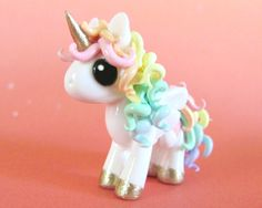 Pastel Rainbow Unicorn Made to Order by DragonsAndBeasties. $30.00 USD, via Etsy.
