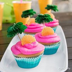 Private island cupcakes are sure to take their taste buds to the tropics! Click to check out our Cupcake Decorating Set, Orange Slices, Blue Ombre Baking Cups, and Palm Tree Party Picks!