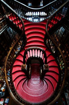 This red and dark brown combo would be amazing! Art Nouveau Staircase at Livraria Lello Irmão Bookstore, Rua das Carmelitas Porto, Portugal - 1906 - Design by Xavier Esteves Architecture Design, Amazing Architecture, Staircase Architecture, Installation Architecture, Building Architecture, Art Nouveau, Take The Stairs, Stair Steps, Stairway To Heaven