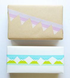 Washi tape pour personnaliser un emballage cadeau  http://www.homelisty.com/emballage-cadeau-original/