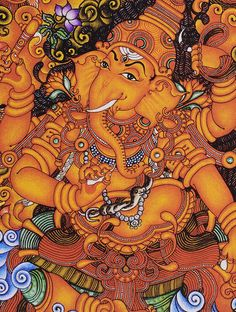 Ganesha Kerela Murals x Ganpati Drawing, Ganesha Drawing, Lord Ganesha Paintings, Lord Shiva Painting, Ganesha Art, Sri Ganesh, Shiva Art, Krishna Art, Hindu Art