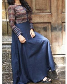 Shop online Blue bias cut tunic Brown chevron print tunic with bias cut and a detailed front and sleeves Indian Fashion Designers, Indian Designer Wear, Churidar Designs, Kurti Designs Party Wear, Saree Dress, Indian Dresses, Cotton Dresses, Blouse Designs, Designer Dresses