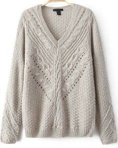 Grey V Neck Long Sleeve Hollow Cable Knit Sweater 21.67
