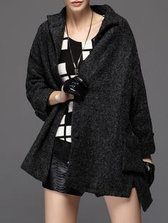 #AdoreWe MITING Black Solid Stand Collar Casual Wool Blend Coat - AdoreWe.com