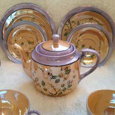MORIYAMA MORI MACHI COMPLETE RARE TEA SET-GORGEOUS! 27 pieces LUSTERWARE #MORIYAMA Tea Kettles, Chocolate Pots, Cookie Jars, Vintage Tea, Fine China, Teacups, Tea Set, Luster, Tea Time
