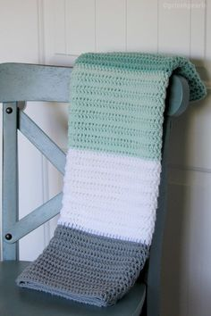 Mint and Gray Crochet Baby Blanket, Modern Crochet Baby Blanket, Striped