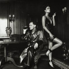 Hugh Hefner and Carrie Leigh photographed by Helmut Newton