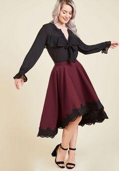 For Statement's Sake A-Line Skirt in Burgundy | Mod Retro Vintage Skirts | ModCloth.com