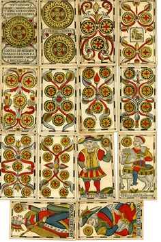 British Museum - Museum number 1982,U.4606.1-78  Published by: F I Vandenborre, Flemish, 18thC: complete pack of 78 playing-cards with suit-marks of swords, clubs, coins and cups. The designs of the atouts are the same as those of 1861,0518.5, a Flemish pack that Willshire mistakenly labels as French. No. II of the atouts represents 'L'E
