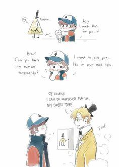 1/2 Gravity Falls Anime, Gravity Falls Fan Art, Reverse Gravity Falls, Gravity Falls Dipper, Gravity Falls Bill Cipher, Gravity Falls Comics, Reverse Falls, Billdip Comic, Dipper And Bill