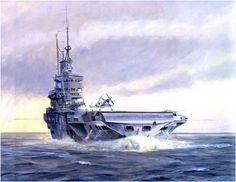 HMS Victorious, un clase Illustrious con los colores de la British Pacific Fleet, en el lejano Oriente en 1945 donde resistio severos ataques kamikazes, operando al lado de la US Navy.