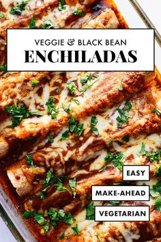 The BEST vegetarian enchiladas, stuffed with broccoli, bell pepper, spinach and black beans, topped with homemade red sauce! Everyone will love this healthy vegetarian enchilada recipe. #cookieandkate #veggieenchiladas #vegetarian #healthyrecipe #mexican