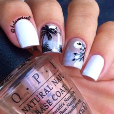 Island nail art. Coconut, moon. White, black, blue and brown Gradient nail design. Polishes. Polish. by @belacineli