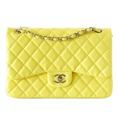 Chanel Bag Maxi Classic Double Flap Yellow Lambskin New ($7,545) ❤ liked on Polyvore featuring bags, handbags, bolsas, borse, purses, handbags and purses, shoulder bags, chain purse, chanel purses and chanel