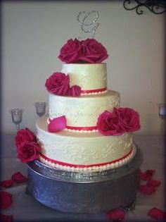 Rowell's Specialty Cakes Wedding Cakes Butter cream wedding cakes Pink wedding cakes Fushia wedding Cakes