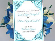"Fold Over Wedding Program Template Download ""Madison"" Malibu Program Order of Service Half Fold Program Printable by PaintTheDayDesigns on Etsy"