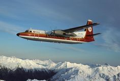 "National Airways Corporation - NAC Fokker F-27-500 Friendship ZK-NFA ""Kotuku"" in flight over the New Zealand Alps, circa 1977. (Image: Didier Pinçon)"